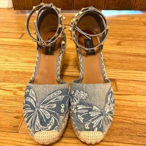 Valentino Rockstud Denim Butterfly Ankle Strap